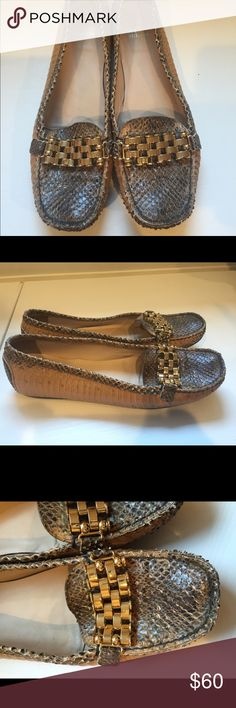 Stuart Weitzman Snakeskin Flats These are amazing snakeskin shoes and very comfortable.  They go perfectly with any outfit.  They show very slight signs of wear, which can be seen in the photos.  They run a little on the small side in my opinion. Stuart Weitzman Shoes Flats & Loafers