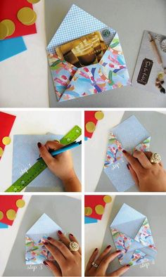 Origami envelope in Crafts for home stationery and paper for birthdays, anniversaries or square Envelope Diy, Envelope Origami, Origami Paper, Diy Paper, Paper Crafts, Diy Origami, Diy Envelope Tutorial, Origami Letter, Tarjetas Diy