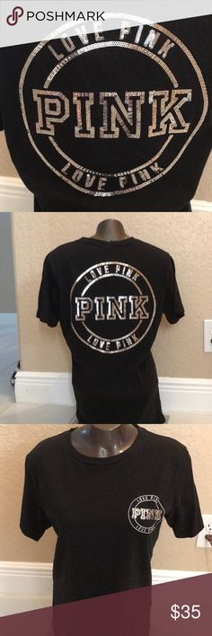 NEVER WORN brand pink ,black T shirt with sequins NEVER WORN amazing condition black top with sequins !from pink PINK Tops Tees - Short Sleeve