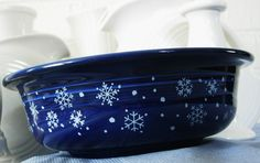 Rare Holiday Fiesta Cobalt Snowflake, 1 Qt Party Bowl - Fiestaware