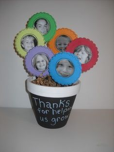Teacher Flower Pot Gift, but each child designs their own flower instead of pictures.