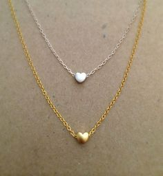 Tiny Rounded Gold Heart Necklace 16k gold plated by JewelrybyB