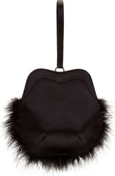 Simone Rocha - Black Satin Feather Trimmed Wristlet Clutch