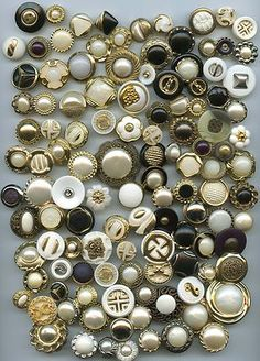 SOLD: 345 buttons metal metalized plastic and plastic modern buttons