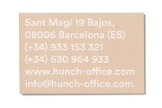 Hunch business card back by Albert Romagosa Design Cabinet.