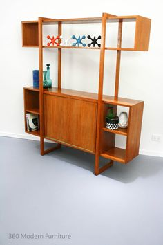 Mid Century Room Divider Wall Unit Bookcase Teak Shelves Retro Vintage Geometric in Home & Garden, Furniture, Other | eBay 360 Modern Furniture