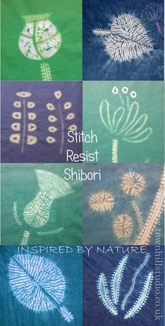 Colourful shibori patterns created with different methods of shibori stitch resist with indigo and fibre reactive dyes all by Townhill Studio. Inspired by the natural world a great variety of designs are shown: flower & seed heads, leaves of different shapes and sizes, so much is possible!