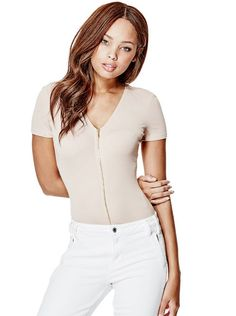 Joany Short-Sleeve Zip-Up Bodysuit | shop.GUESS.com