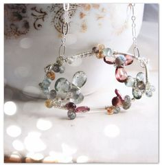 XANADU  ice flower gemstone aquamarine flower necklace