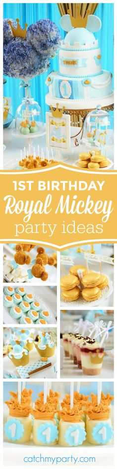 Don't miss this fantastic Royal Mickey 1st Birthday Party. The dessert table and decorations are amazing!! See more party ideas and share yours at CatchMyParty.com