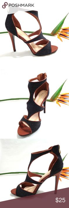"NWOB Black Denim Fabric High Heel Sandal Product Feature:  NEW Liliana  Black Faux Leather and Denim  fabric Open Toe design Ankle Strap Heel Zipper Stiletto Heel 4.0"" This Item Is NEW Shoes Heels"