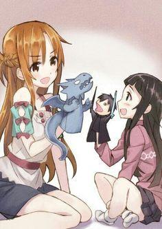 Asuna, Yui, Kirito, dragon, puppets, cute, funny; Sword Art Online