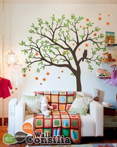 Baby Nursery Tree Wall Decal Wall Sticker  Owl by WallConsilia, $89.00