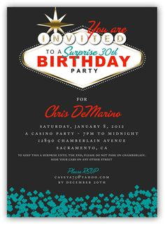 Fabulous Las Vegas Themed Party Invitation 4x6 by JamesPaigeDesign