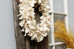 Simple and Fabulous Neutral Fall Wreath. Not made with your typical fabric, swing by and see what was used!