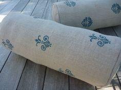 bolster pillow cushion linen burlap fleur de lis block print (no.2 printed in mineral blue on toast