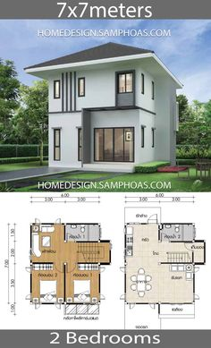 Small Home design Plans with 2 Bedrooms - Home Ideassearch Unique Small House Plans, Small Floor Plans, Modern House Plans, Tiny House Plans, House Floor Plans, Minimalist Architecture, Modern Architecture House, House Plans Online, Interior Design Living Room Warm