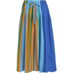 DIANE VON FURSTENBERG   Color-block striped cotton-blend maxi skirt (€140) ❤ liked on Polyvore featuring skirts, striped maxi skirts, blue skirt, pleated maxi skirts, blue striped skirt and maxi skirt