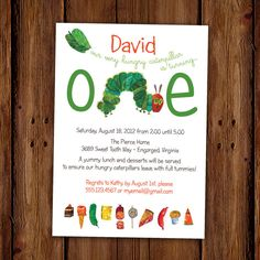Very Hungry Caterpillar Invitation Kids by ScriptivaPaper on Etsy, $15.00