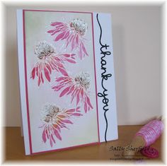 I needed a quick thank you card so decided to ink up my Tim Holtz Flower Garden stamps again. I stamped and embossed the flowers in whi...