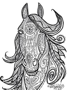 Horse Adult Coloring Page Elegant Horse Tribal Head Art by Marie Justine Roy Horse Coloring Pages, Coloring Pages To Print, Free Printable Coloring Pages, Colouring Pages, Coloring Pages For Kids, Coloring Books, Coloring Sheets, Free Printables, Book Clip Art
