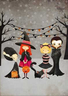 Items similar to Halloween Art Print --The Boo Crew Print - kids art children's art decor nursery cute whimsical on Etsy Halloween Pictures, Halloween Kostüm, Holidays Halloween, Halloween Outfits, Vintage Halloween, Halloween Pumpkins, Halloween Decorations, Whimsical Halloween, Halloween Clothes