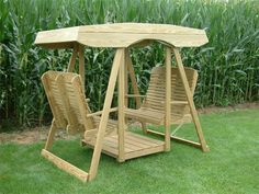 Amish Pine Wood Contour Highback Double Lawn Swing Glider with Canopy Amish Grove Collection Stay cool outdoor under the canopy of this Double Lawn Swing Glider. This Double Lawn Swing