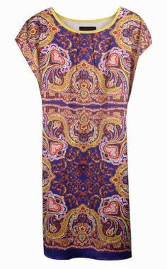 Blue Batwing Short Sleeve Retro Print Straight Dress