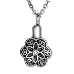 VALYRIA Memorial Flower Petal Cremation Pendant Keepsake Urns Necklace * Continue to the product at the image link.(This is an Amazon affiliate link and I receive a commission for the sales)