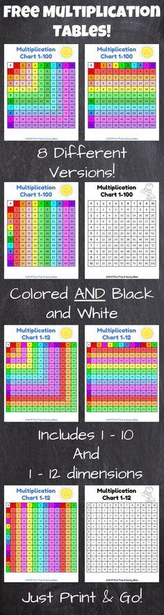 FREE Printable Multiplication Chart - Printable Multiplication Table - 8 Printable Versions - Colored and Black and White!