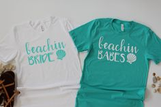 Beachin' Bride and Beachin' Babes TShirts // Bridesmaid Shirt // Beach Babe Shirt // Bachelorette Party Shirts Mommy And Me Shirt, Dad To Be Shirts, T Shirts With Sayings, Cute Shirts, T Shirts For Women, Bachelorette Party Shirts, Bachelorette Cruise, Bachelorette Ideas, Monogram T Shirts