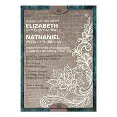 Rustic Chic Burlap & Lace Wedding Invitation from Zazzle.com