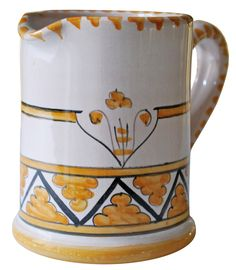 Small water or milk pitcher, hand-made and hand-painted by Ceramiche Fusari