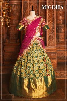 Here is a loud shout! your favorite pattu lehengas is back. <br>Trendy combo of green and red lehenga with cut work embroidery.<br>Customize the color and size as per your requirement.<br>To Order :whatsapp 30 August 2018 Lehenga Choli Wedding, Half Saree Lehenga, Kids Lehenga, Designer Bridal Lehenga, Lehnga Dress, Lehenga Gown, Party Wear Lehenga, Half Saree Designs, Pattu Saree Blouse Designs