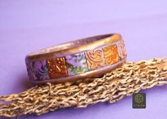 Bohemian Lavender Gold Bangle Boho Chic Bracelet EthnicJewelry Bracelet Mokume Best Gift Etnika Purple Bracelet Fimo Jewelry Cuff Bangles by Etniika on Etsy