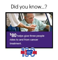 $80 helps give three people rides to and from cancer treatments.