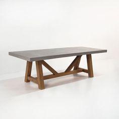 concrete and reclaimed teak trestle table