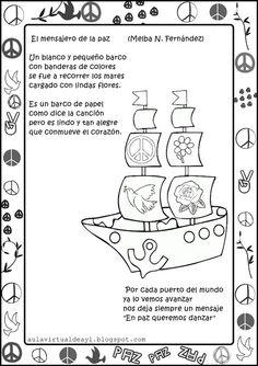 Aula virtual de audición y lenguaje: Poemas de la PAZ Spanish Teacher, Spanish Classroom, Step Kids, Day Book, Anti Bullying, Preschool, Religion, Teaching, Christopher Columbus