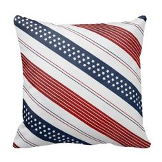 Geometric Independence Day Diagonal Stripes Throw Pillows