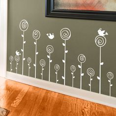 Swirling Poppies Set wall decals! $39