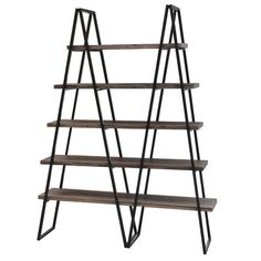 """Crestview Collection Ashland Weathered Oak 71"""" Accent Shelves"""