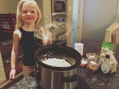 Georja creating slow cooker overnight oatmeal. She can't wait for a warm healthy breakfast before school. I think she's mostly excited to add brown sugar in the morning. We will have to remember a good tooth brush and floss before going off to school.