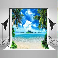5x7 ft Sea and Beach Backgrounds Blue Sky White Cloud Photo Backdrops Nature Scenery Backdrop