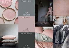 Antraciet, licht grijs, zacht roze en wit. mooi palet