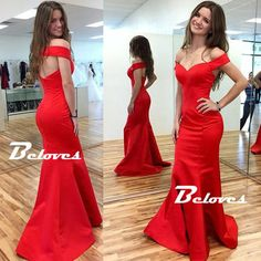 Red Satin Off The Shoulder Mermaid Prom Dress With Cut Out Back · Beloves · Online Store Powered by Storenvy