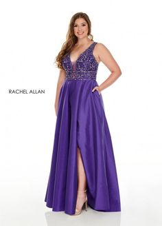 Style 7232 from Rachel Allan Curves is a plus size taffeta A-line gown that features a beaded bodice, a racer back, pockets, and a high skirt slit.