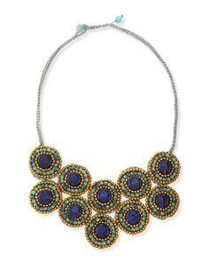 Beading Inspiration: Tri-Tone Beaded Layered Bib Necklace by Panacea at Neiman Marcus.