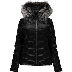 Spyder Women's Falline Real Fur Down Jacket ($650) ❤ liked on Polyvore featuring black and spyder