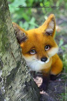 """""""Пухтя"""" - рыжий,лиса,лисенок,войлочная игрушка,авторская игрушка,шерсть 100%"""