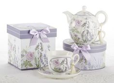 Beautiful Gift Boxed Porcelain 8oz Tea Cup (Teacup) and Saucer has matching box adorned with a lovely satin ribbon. Perfect for gifting both tea and coffee lovers alike.